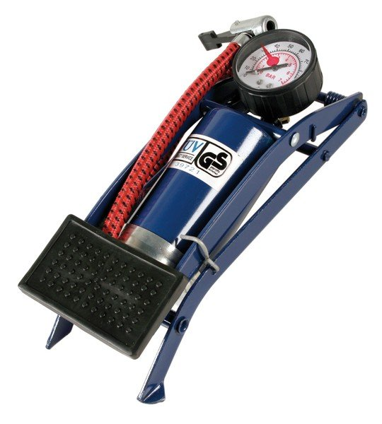 Foot pump - 1 cylinder for bicycle, car, motorbike, moped etc.
