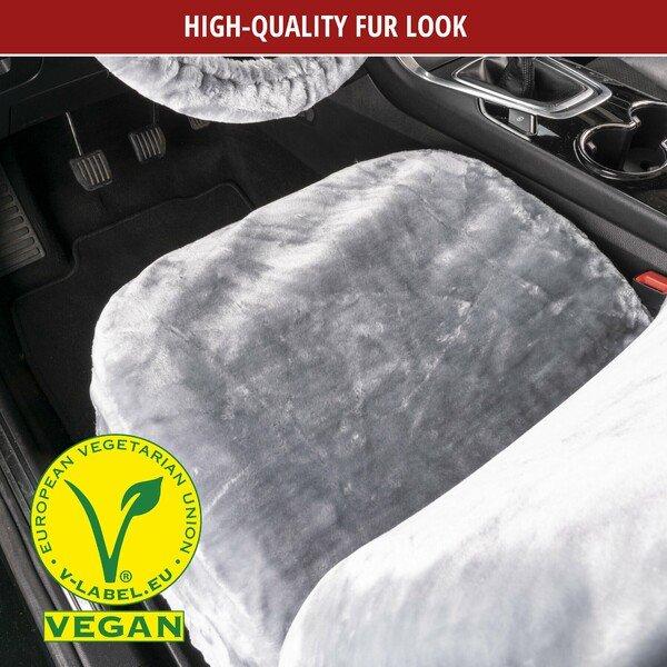 Car seat cover Teddy faux fur vegan silver