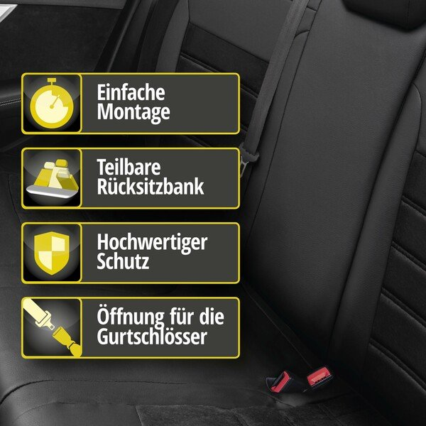 Passform Sitzbezug Bari für Seat Leon 09/2012-Heute, 1 Rücksitzbankbezug für Sportsitze