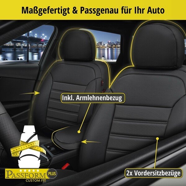 Passform Sitzbezug Robusto für Audi A1 Sportback (8XA, 8XF) Baujahr 09/2011-10/2018, 2 Einzelsitzbezüge für Normalsitze