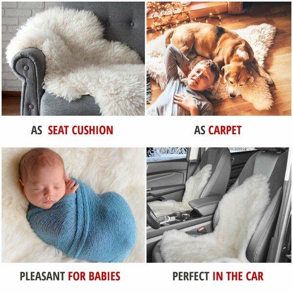 Lambskin carpet Seat cover Beal white 100-105 cm long