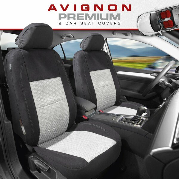 ZIPP IT Premium Car seat covers Avignon for two front seats with zip-system black/silver
