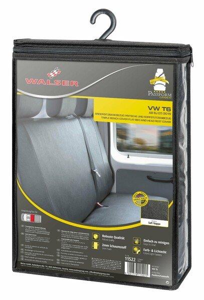 Housse de siège Transporter en simili cuir pour VW T6, banquette 3 places