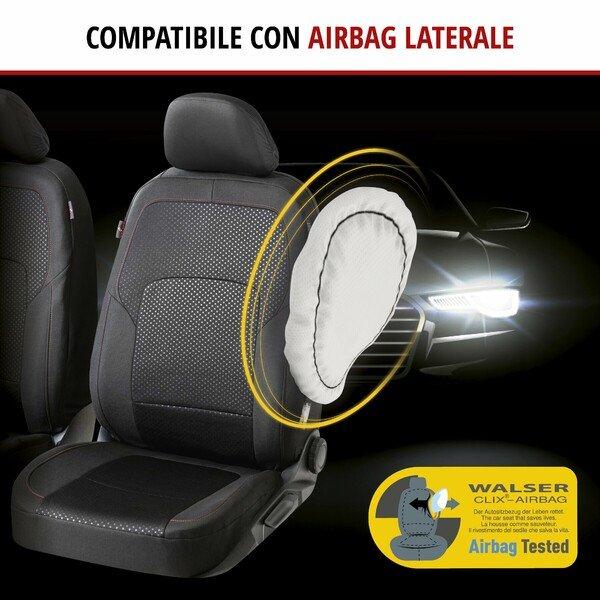 ZIPP IT Premium Coprisedili Logan per due sedili anteriori con sistema di chiusura lampo nero/rosso