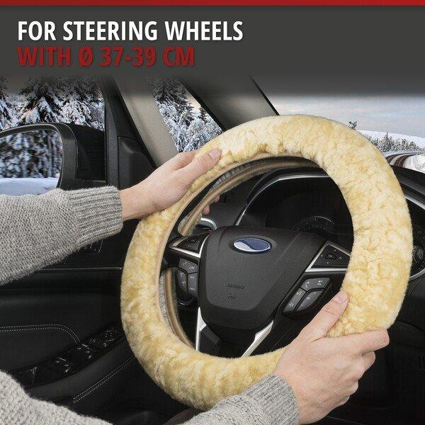 Lambskin steering wheel cover - Steering wheel cover in beige