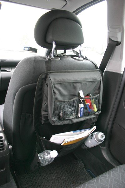 Car seat rear seat organizer with storage space