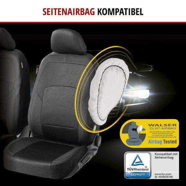 ZIPP IT Premium Autositzbezüge Logan Komplettset mit Reißverschluss-System schwarz/silber