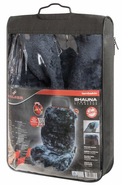 Shauna lambskin car seat cover, 20mm thick wool pile - 1 piece in anthracite with ZIPP system