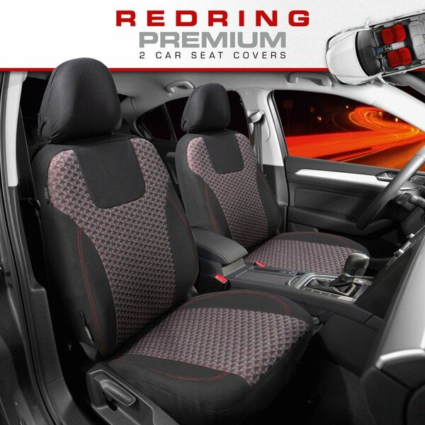 ZIPP IT Premium Car seat covers Redring for two front seats with zip-system black/red