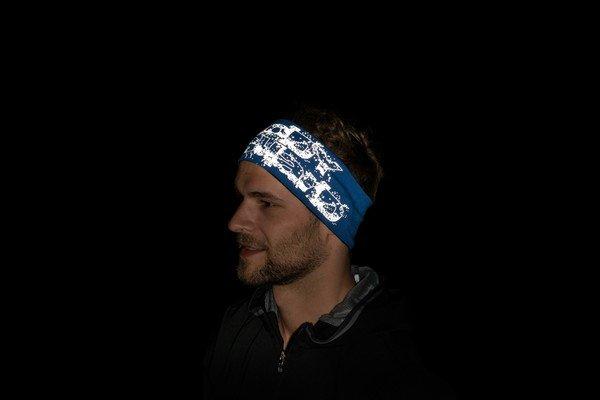 bandeau réversible bleu-argent