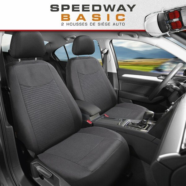 ZIPP IT Housse de sièges Speedway pour deux sièges avant avec système de fermeture éclair noir