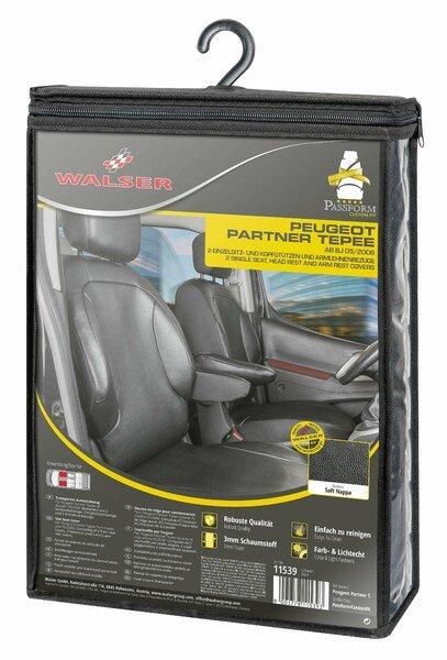 Housse de siège Transporter en simili cuir pour Peugeot Partner, 2 sièges simples avant