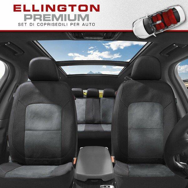 ZIPP IT Premium Coprisedili Ellington set completo con sistema di chiusura lampo nero/grigio
