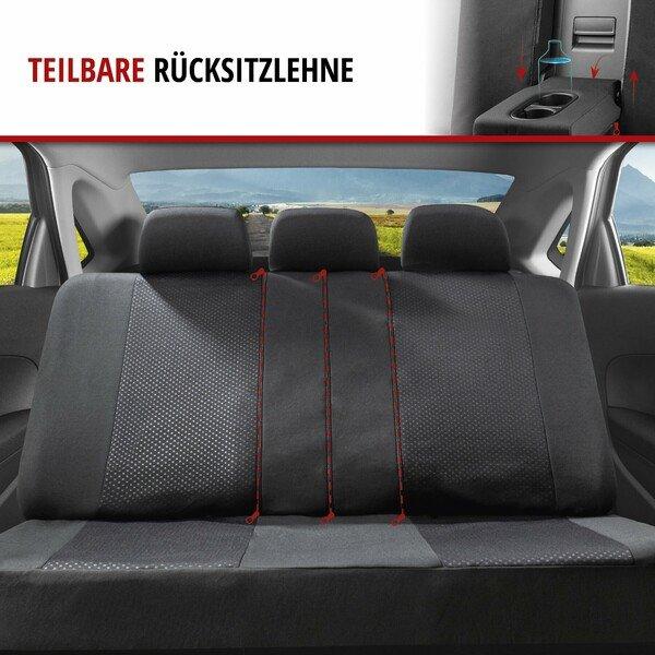 ZIPP IT Premium Autositzbezüge Logan Komplettset mit Reißverschluss-System schwarz/rot