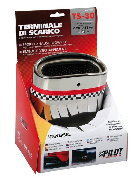 Universal exhaust cover with sport sound TS-30