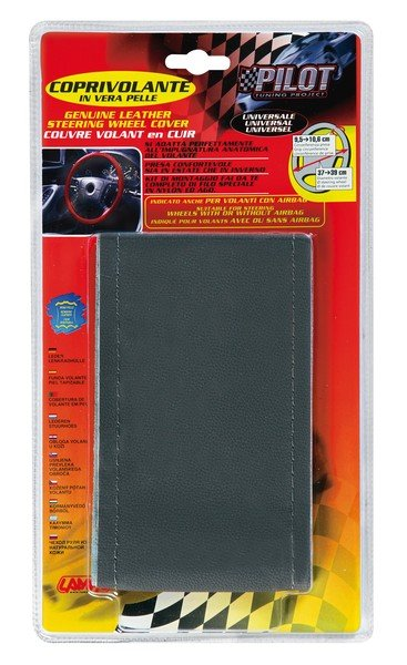 leather steering wheel cover steering wheel cover 37/39 cm grey