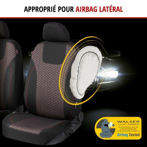 ZIPP IT Premium Housse de sièges Redring pour deux sièges avant avec système de fermeture éclair noir/rouge