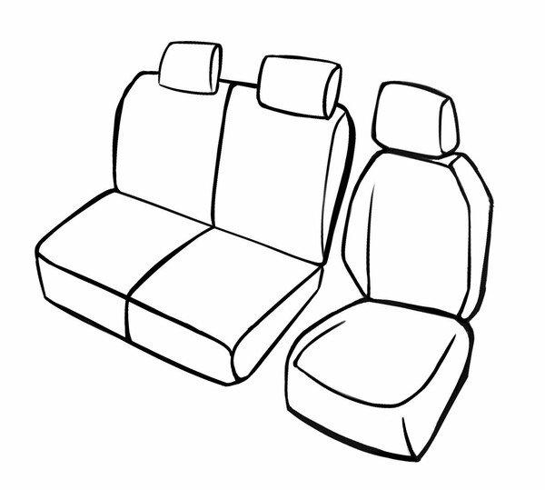 Premium Autositzbezug für Ford Tourneo Connect/Grand Tourneo Connect V408 09/2013-Heute, 1 Einzelsitzbezug vorne + Armlehnenbezug, 1 Doppelbankbezug