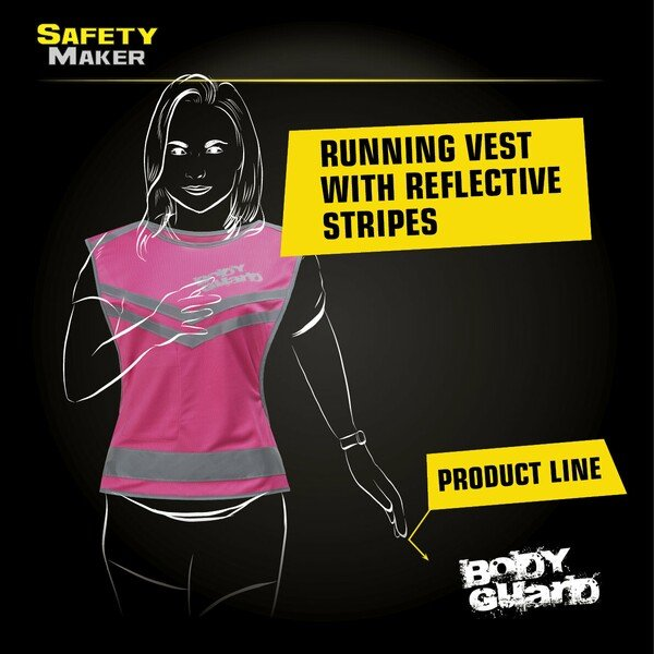 Running vest with reflector pink - Size S/M