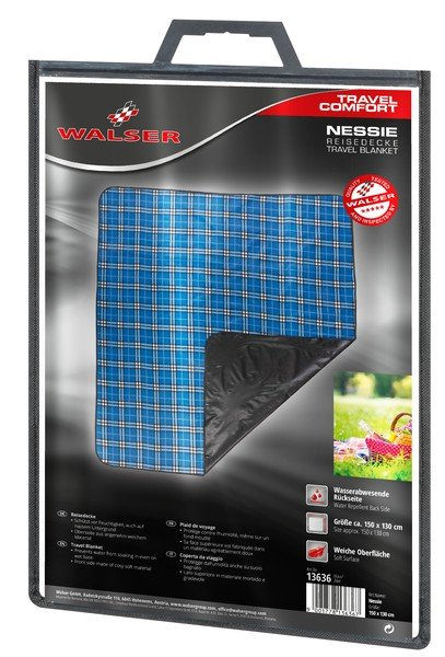 Couverture de pique-nique Nessie bleu à carreaux 150x130cm