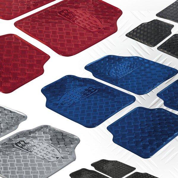 Car Rubber matss Metallic checker plate look blue maxi