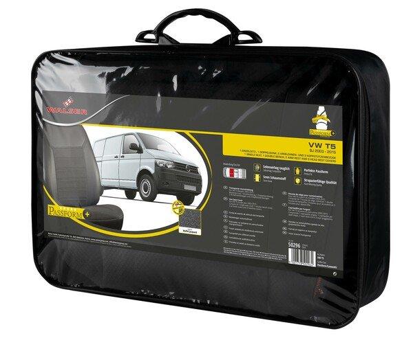 Premium Autositzbezug aus Kunstleder für VW T5 Einzelsitz vorne und Doppelbank Baujahr 2003 - 2015