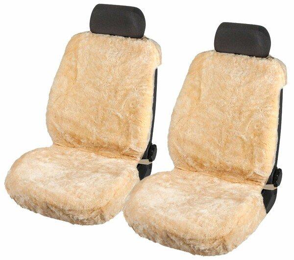 Autositzbezug Shauna aus Lammfell mit 20mm Wollhöhe - 2 Stück beige mit ZIPP IT System