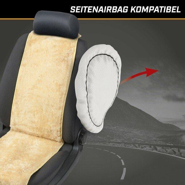 PKW Sitzauflage aus Lammfell Cosmo beige 12-14mm Fellhöhe