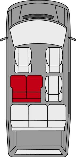 Autoschonbezug Transporter aus Stoff für VW T5, Doppelbank hinten