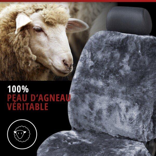 Housses de sièges en peau d'agneau anthracite avec système informatique ZIPP