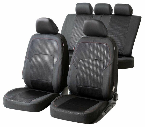 ZIPP IT Premium Car seat covers Logan complete set with zip-system black/red