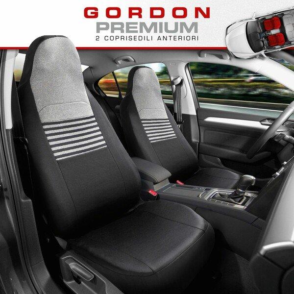 ZIPP IT Premium Coprisedili Gordon per due sedili anteriori con sistema di chiusura lampo nero/grigio