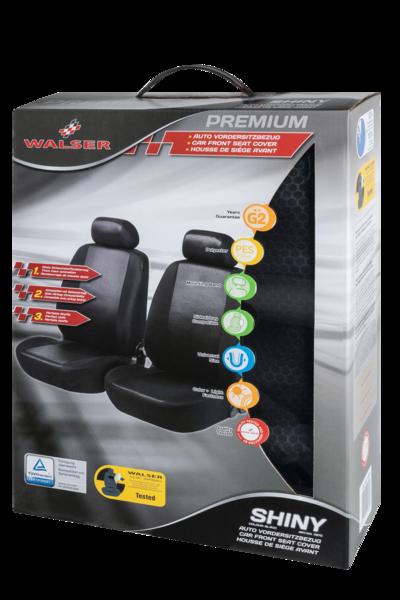 Autositzbezug Shiny schwarz für zwei Vordersitze