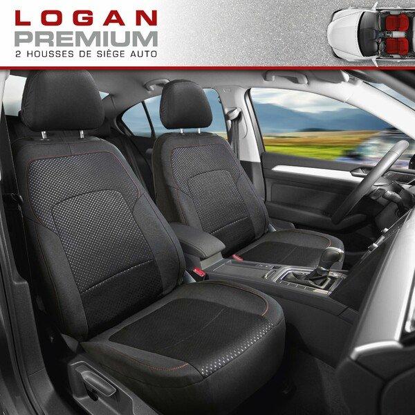 ZIPP IT Premium Housse de sièges Logan pour deux sièges avant avec système de fermeture éclair noir/rouge