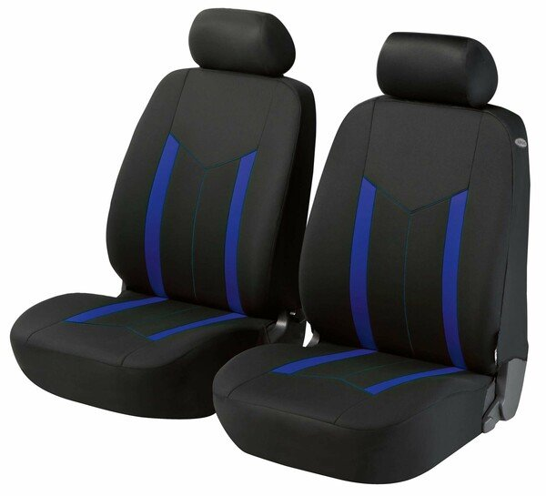 ZIPP-IT Basic Hastings : housses de siège auto bleues pour deux sièges avant avec système de fermeture éclair