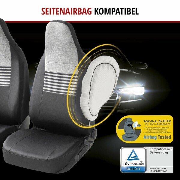 ZIPP IT Premium Autositzbezüge Gordon für zwei Vordersitze mit Reißverschluss-System schwarz/grau