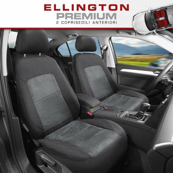 ZIPP IT Premium Coprisedili Ellington per due sedili anteriori con sistema di chiusura lampo nero/grigio