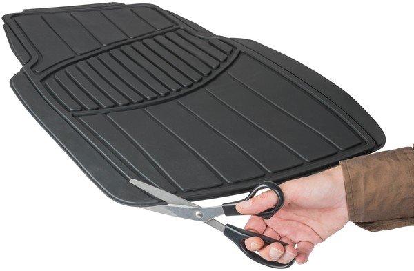 Tapis de voiture en caoutchouc Straightline noir, coupé à la taille