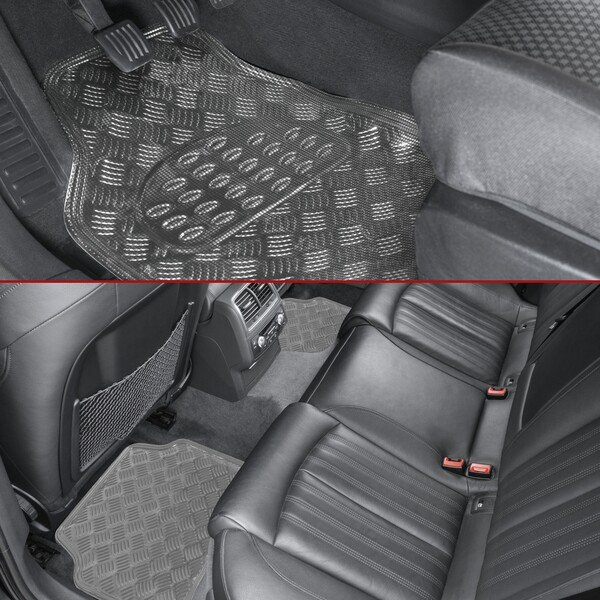 Auto Gummimatten Metallic Riffelblech look silber maxi