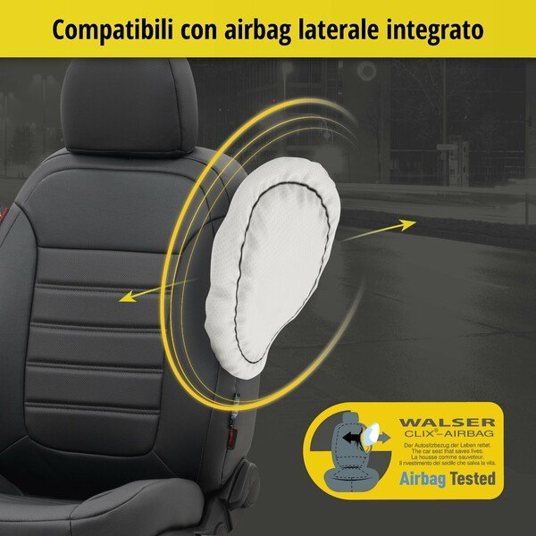 Coprisedili Robusto per Audi A1 Sportback (8XA, 8XF) anno 09/2011-10/2018, 2 coprisedili per sedili normali