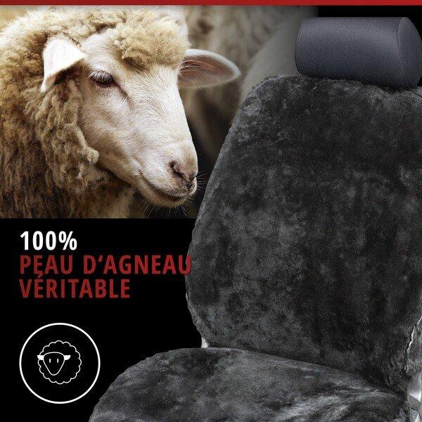 Housses de sièges Nineve en peau d'agneau noire avec système informatique ZIPP
