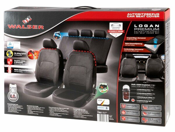 ZIPP IT Premium Car seat covers Logan complete set with zip-system black/silver