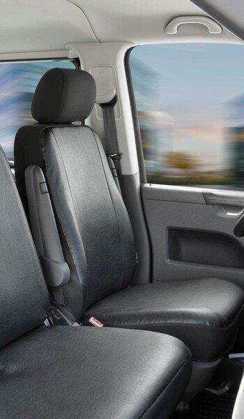 Housse de voiture en similicuir compatible avec VW T6, siège unique avant
