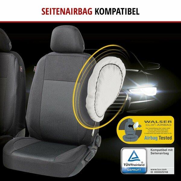 ZIPP IT Premium Autositzbezüge Ardwell Komplettset mit Reißverschluss-System schwarz/grau