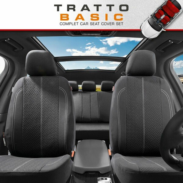 ZIPP IT Car seat covers Tratto complete set with zip-system black