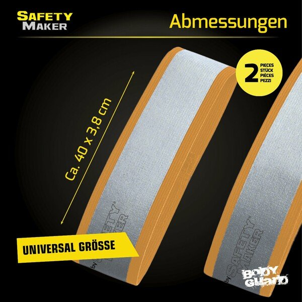 Reflektor Band in Silber / Orange - 1 Paar