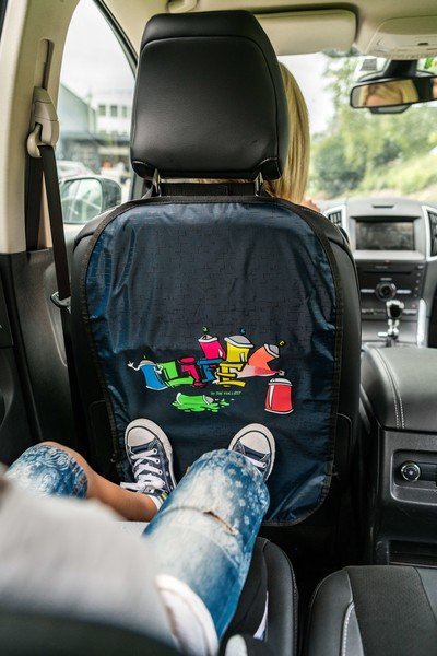 car seat backrest protection graffiti blue
