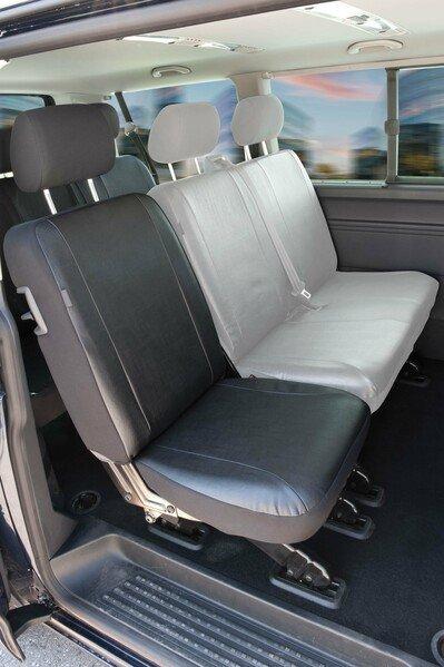 Housses de sièges pour siège arrière simple du T5 de VW en simili cuir, année 04/2003-06/2015