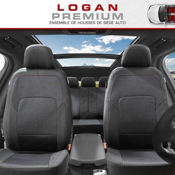 ZIPP IT Premium Housse de sièges Logan complet avec système de fermeture éclair noir/rouge