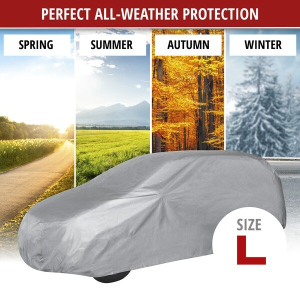 Car tarpaulin All Weather Light full garage size L light grey